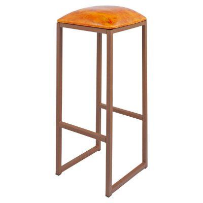 COUNCIL OXIDO Tabouret haut de style vintage, structure en fer avec repose-pieds, assise en cuir de chèvre. Personnalisable avec supplément.