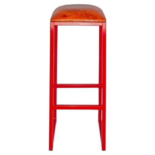 COUNCIL RED Tabouret haut de style vintage, structure en fer avec repose-pieds, assise en cuir de chèvre. Personnalisable avec supplément.