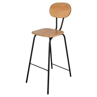 MARSELLA BLACK Tabouret haut de style industriel avec structure en métal, finition noir, assise et dossier en bois de pin. Personnalisable