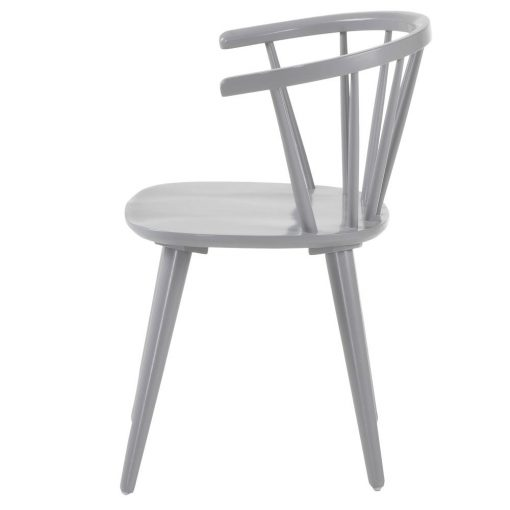 KRISE GREY Chaise de style windsor/ercol fabriquée en bois tropical. Finition peinture en powder coated. Dimensions: 53x54x77 cm