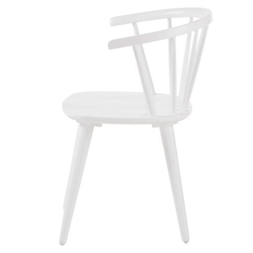 KRISE WHITE Chaise de style windsor/ercol fabriquée en bois tropical. Finition peinture en powder coated. Dimensions: 53x54x77 cm