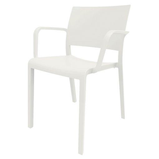 NEW FIONA Chaise avec accoudoirs pour usage intérieur ou extérieur, fabriqué en fibre synthétique. Protection anti-UV. Couleurs disponibles: blanc, chocolat, sable, noir, gris, vert et marron