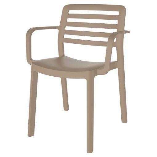 WIND ARMCHAIR Chaise fabriquée en polypropylène, adapté pour un usage intérieur ou extérieur. Protection anti-UV. Empilable. Couleurs disponibles: sable, blanc, marron, gris et rouge
