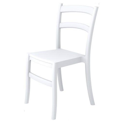FIESTA Chaise fabriquée en polypropylène, adaptée pour un usage intérieur ou extérieur. Protection anti-UV. Empilable. Dimensions: 45x51x85 cm. Couleurs disponibles: blanc, marron. Commande minimale: 4 unités