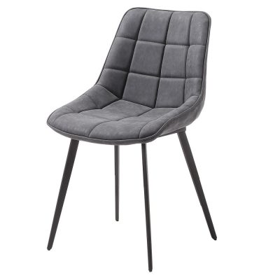 ADAH GREY Chaise de style scandinave, structure métallique avec finition noir, assise et cuir synthétique. Dimensions: 51x59x83 cm. Commande minimale 2 unités. Produit non adapté pour un usage professionel
