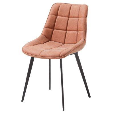 CHAISE TAPISSÉE ADAH de style scandinave, structure métallique avec finition noir, assise en cuir synthétique. 6