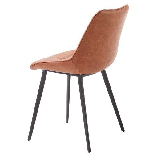 ADAH BROWN Chaise de style scandinave, structure métallique avec finition noir, assise et cuir synthétique. Dimensions: 51x59x83 cm. Commande minimale 2 unités. Produit non adapté pour un usage professionel