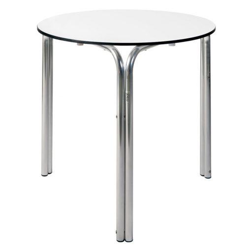 OLA3 Table ronde pour l'extérieur. Structure en tubes d'aluminium brillant, plateau en compact phélonique. Empilable.