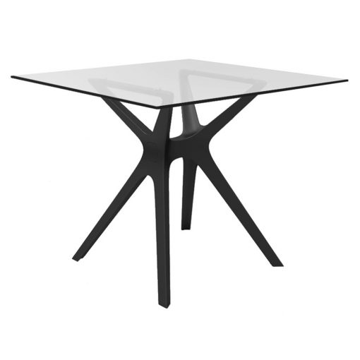 VELACRIS Table pour usage intérieur ou extérieur avec pied central en polypropylène et plateau en verre trempé. Protection anti-UV.