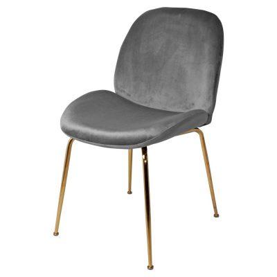 SANDO GREY Chaise de style contemporain avec structure en acier, finition laiton, assise et dossier en velours. Dimensions: 48x58x86 cm
