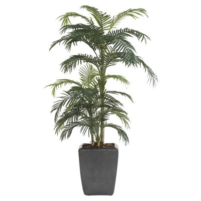 ARBRE PALMERA Plante artificielle décorative, arbre palmier, finition premium. 33 feuilles artificielles. Tronc naturel. Pot inclus. Dimensions: hauteur 175 cm