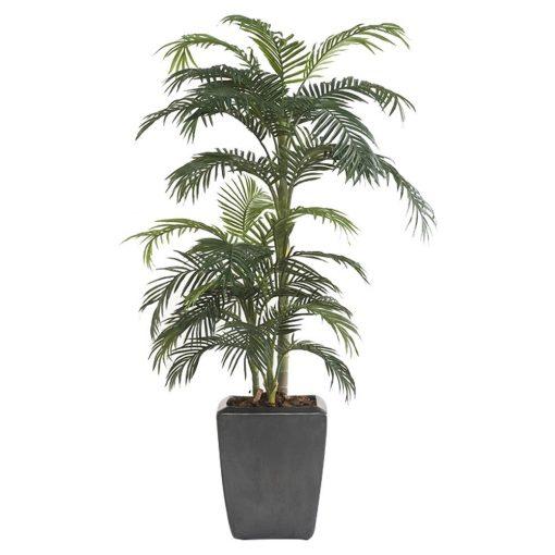 ARBRE PALMERA Plante artificielle décorative, arbre palmier, finition premium. 33 feuilles artificielles. Tronc naturel. Pot inclus. Dimensions: hauteur 175 cm