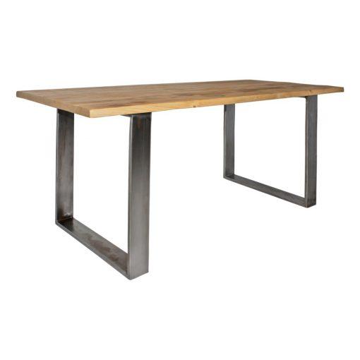 PAKIRA Table d'intérieur avec plateau en bois, structure et pieds en fer. Réalisation sur mesure possible. Disponible en bois ancien ou bois neuf effet vieilli.