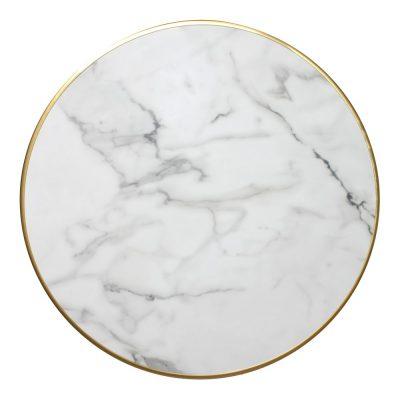 LORNA Plateau de table en contreplaqué marine avec placage laminé en finition calacatta, cadre en aluminium finition laiton.