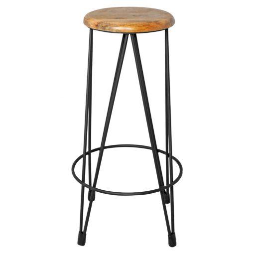 ZIG ZAG BLACK Tabouret haut, structure métallique. Assise en bois. Finition zinc. Dimensions: 42x42x74cm. Assise Ø30cm.