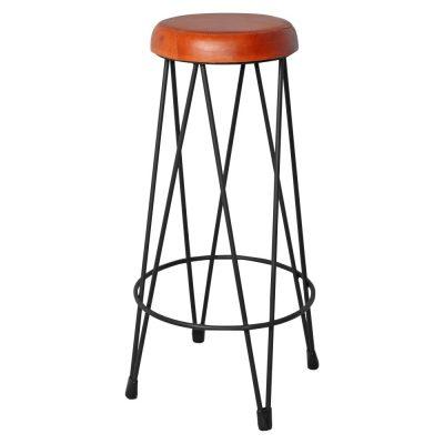 PIGALLE BLACK Tabouret haut en métal, style industriel, finition cuivré, assise en cuir (la couleur peut varier légèrement par rapport à la photo).