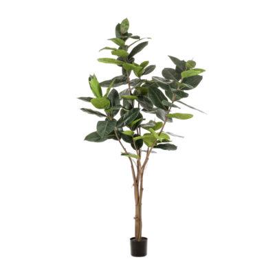 LYRATA Plante artificielle décorative finition Premium.79 feuilles artificielles, tronc naturel. Pot basique inclus.Hauteur: 180 cm