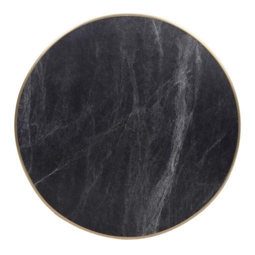 LORNA BLACK Plateau de table en contreplaqué stratifié avec placage laminé en finition calacatta, cadre en aluminium finition laiton. Épaisseur de 2,5 cm.2