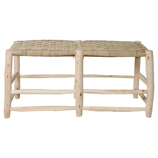 BELGICA Banc de style ethnique fabriqué en bois de laurier. Assise tapissée en palmier tressé. Dimensions: 136x42x50 cm (aprox)