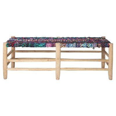 BRAVANTE Banc de style ethnique fabriqué en bois de laurier. Assise tapissée en palmier tressé. Dimensions: 136x42x50 cm (aprox)