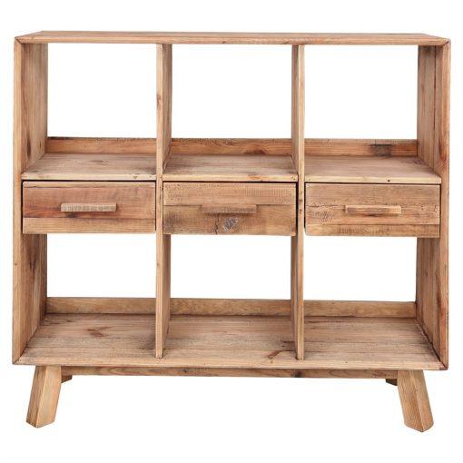 KARLO Étagère fabriquée en bois de pin recyclé avec 3 tiroirs et 6 compartiments. Dimensions: 120x40x110 cm