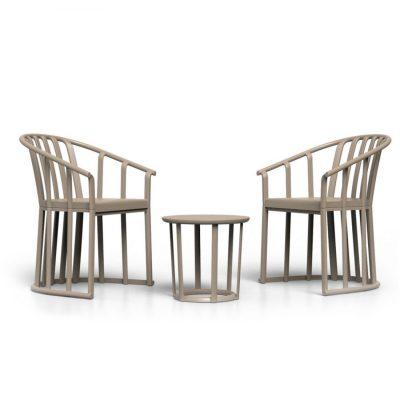 RAFF SET Set pour extérieur, composé de deux fauteuils Raff Lounge, coussins inclus et une table auxiliaire Raff.Dimensions: 53,5×58,7×76 cmCouleurs disponibles: bordeaux, sable, noir, toscan, blanc y chocolat.
