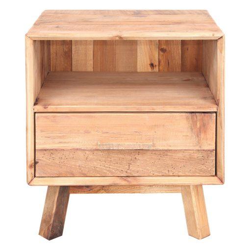 MENDOZA Table de nuit fabriquée en bois de pin recyclé avec 1 tiroir. Dimensions:55x45x62 cm