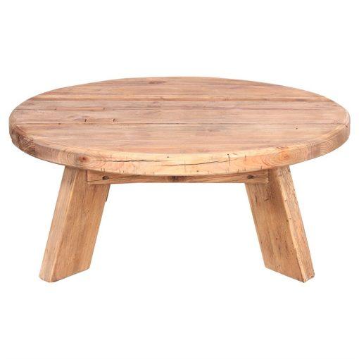 ORIGAMI Table basse avec plateau circulaire fabriqué en bois de pin recyclé. Dimensions: Ø90×35 cm