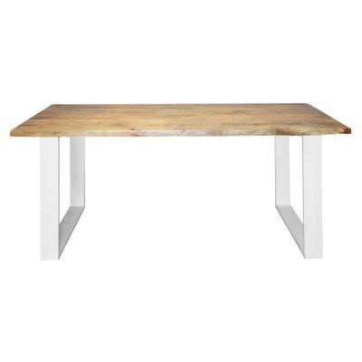 PAKIRA Table d'intérieur avec plateau en bois, structure en fer, possibilité de réalisation sur mesure. Disponible en bois ancien, ou en bois effet vieilli.