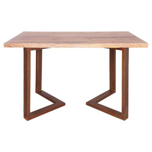 GUITARRA TABLE OXIDO Table de style industriel contemporain. Structure en tubes d'acier, finition oxydé, plateau en bois de manguier.