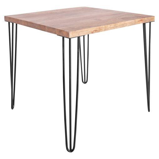 HAIRPIN BLACK Table de style industriel avec pieds en acier type hairpin (de 3 tiges) et plateau en bois de manguier.Dimensions: hauteur 75 cm