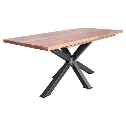 SINTRA Table de style industriel/contemporain. Structure en acier, finition vernis, plateau en bois de manguier.Dimensions: Hauteur75 cm.