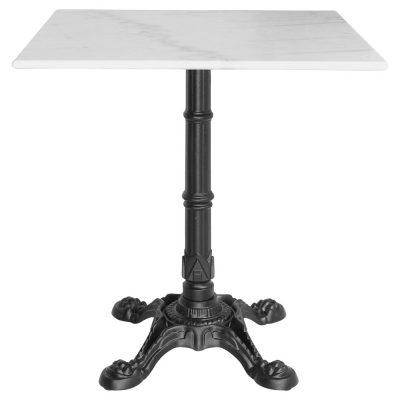 KRONOS MARBRE Table d'intérieur de style vintage/bistrot avec pied en fer forgé et plateau en marbre blanc. | Trouvez-la chez MisterWils.