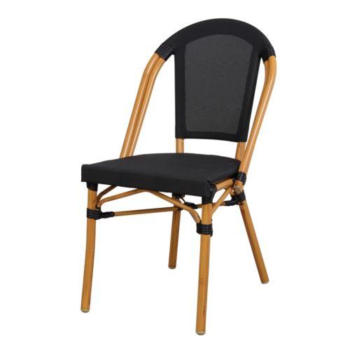 FORD Chaise de style Bistrot imitation bambou, fabriquée en tubes d'aluminium soudés. Assise et dossier en textilène.