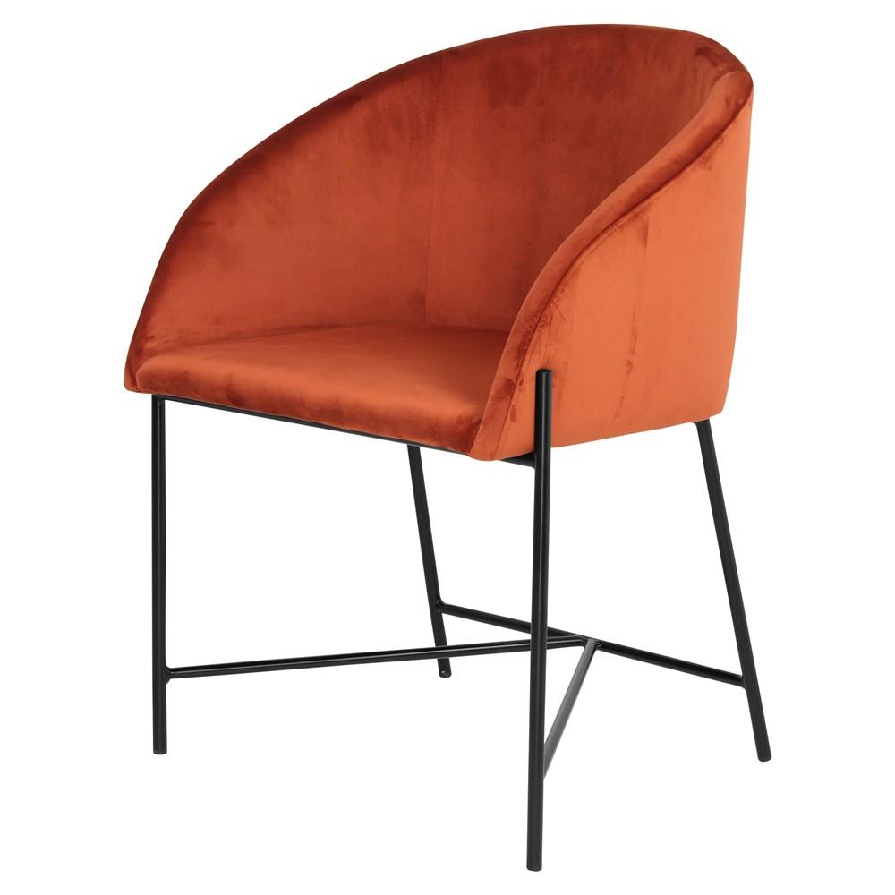 PETUNIA TERRACOTA Chaise de style contemporain revêtement en velours couleur terracota, structure noire.Dimensions: 56x57x81 / 48 cm