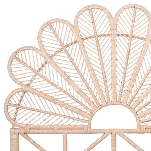 PETAL Tête de lit de style ethnique-exotique fabriquée en bambou et fibres de rotin naturel. Dimensions: 153×153 cm