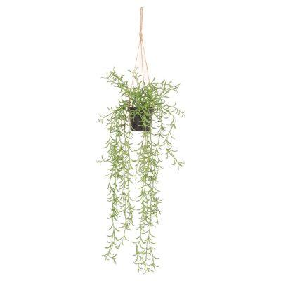 BLOSSOM Plante artificielle suspendue, pot et corde décorative inclus | Trouvez-le chez Mister Wils. Plus de 4000m² d'exposition. Buffets, étagères, luminaires, tables, chaises, canapés et banquettes, tabourets, ventilateurs, plantes artificielles...