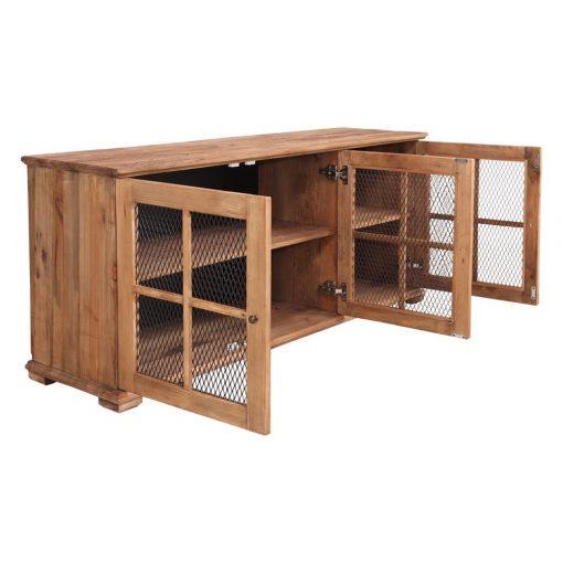 CASTEL Buffet avec trois portes, fabriqué en bois de pin recyclé | Trouvez-le chez Mister Wils. Plus de 4000m² d'exposition. Buffets, étagères, luminaires, tables, chaises, canapés et banquettes, tabourets, ventilateurs, plantes artificielles...