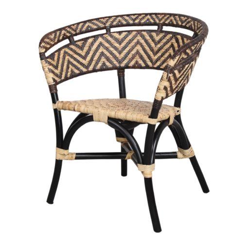 DALUCY Chaise avec dossier en rotin naturel, finition naturelle et couleur noire. Trouvez-le chez Mister Wils. Plus de 4000m² d'exposition. Buffets, étagères, luminaires, tables, chaises, canapés et banquettes, tabourets, ventilateurs, plantes artificielles...1