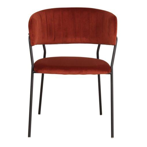 DAMES TERRACOTA Chaise avec structure métallique noire, revêtement en velours couleur terracota. Trouvez-le chez Mister Wils. Plus de 4000m² d'exposition. Buffets, étagères, luminaires, tables, chaises, canapés et banquettes, tabourets, ventilateurs, plantes artificielles...