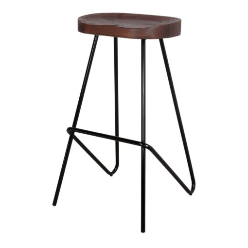QUINCY BLACK Tabouret haut de style industriel, structure en tubes d'acier, finition noir, assise en bois tropical.