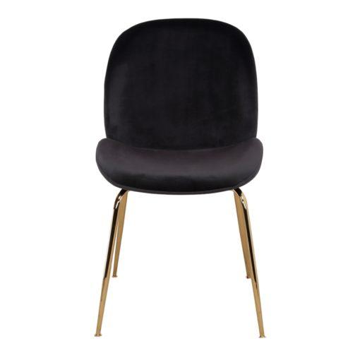 SANDO BLACK Chaise de style contemporain avec structure en acier, finition laiton, assise et dossier en velours. Trouvez-le chez Mister Wils. Plus de 4000m² d'exposition. Buffets, étagères, luminaires, tables, chaises, canapés et banquettes, tabourets, ventilateurs, plantes artificielles...