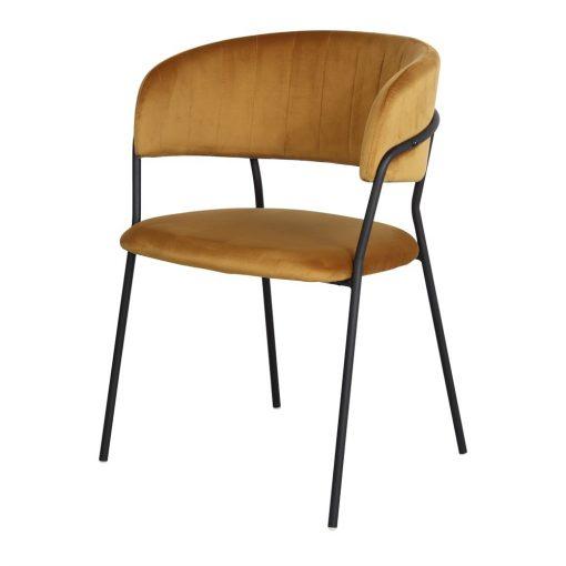 DAMES CURRY Chaise avec structure métallique noire, revêtement en velours couleur curry. Trouvez-la chez Mister Wils. Plus de 4000m² d'exposition. Buffets, étagères, luminaires, tables, chaises, canapés et banquettes, tabourets, ventilateurs, plantes artificielles...