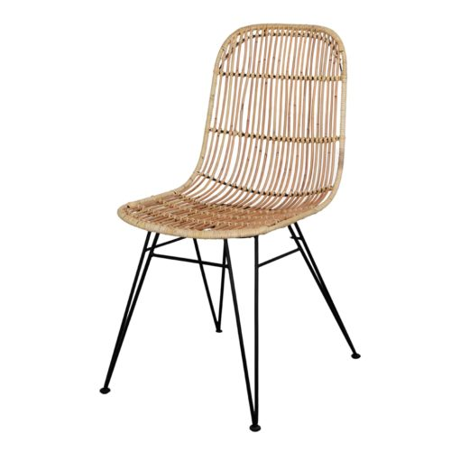 ESPRESSO NATURAL Chaise de style scandinave, structure métallique laquée en noir, asssise en rotin naturel. Non adapté pour un usage extérieur.