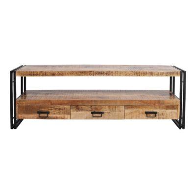 NEPTUNO Meuble TV bas, style industriel avec structure en acier, finition vernis transparent, plateau et tiroirs en bois tropical. Trouvez-le chez Mister Wils. Tables, chaises, canapés, tabourets, étagères, plantes artificielles…1