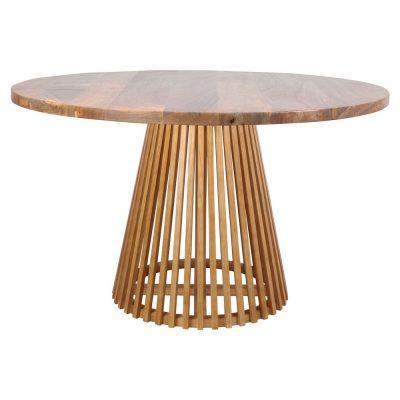 SOLOMON TABLE Table ronde de style scandinave fabriquée en bois, design bâtonnets. Trouvez-la chez Mister Wils. Plus de 4000m² d'exposition. Buffets, étagères, luminaires, tables, chaises, canapés et banquettes, tabourets, ventilateurs, plantes artificielles...