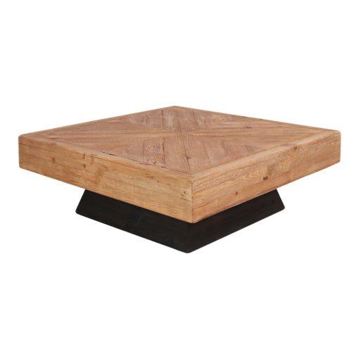 MARIUS Table basse carrée fabriquée en bois de pin recyclé. Base de forme pyramidale en bois, finition peinture noire | Trouvez-la chez Mister Wils