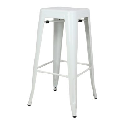 INDIANA WHITE Tabouret style industriel en métal. Finition peinture blanche powder coated