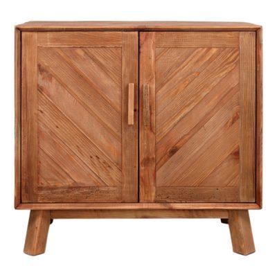ODUM Buffet de style rustique fabriqué en bois de pin recyclé avec portes battantes au design géométrique en épis et structure inférieure en bois.