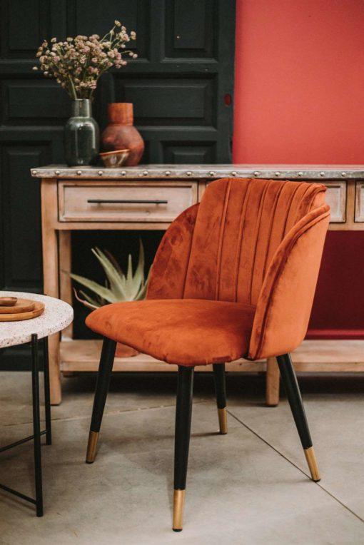 LUGGER TERRACOTA Chaise de style contemporain avec structure en acier, pieds en forme d'aiguilles avec finition en laiton. Assise en velours et dossier garni.Dimensions: 62,5×51,5×78,5 cm